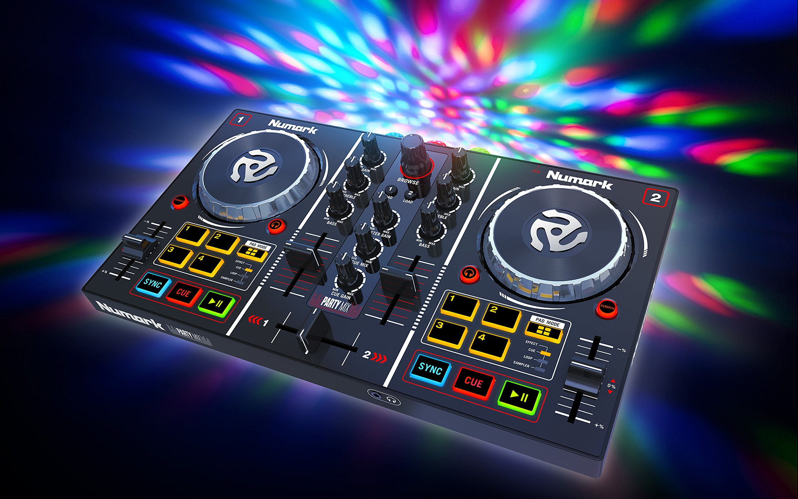 Click here to buy Numark Party Mix | Starter DJ Controller with Built-In Sound Card & Light Show, and... by inMusic Brands, Inc.