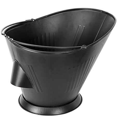Ash Bucket for Fireplace Black Iron Upon-Ground and Pouring Free Design Hot Ashes Carrier Container Burning Wood Holder Tools Scroll Design Log Holder