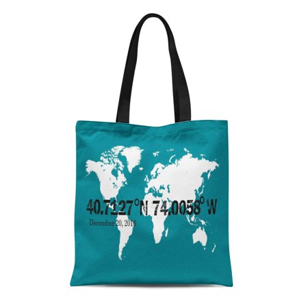 SIDONKU Canvas Tote Bag Map World Coordinates Custom Special Location Ordinates Date Anniversary Reusable Handbag Shoulder Grocery Shopping Bags
