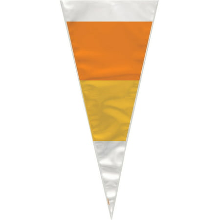 Candy Corn Halloween Cone Cellophane Bags, - Halloween Candy Bucket