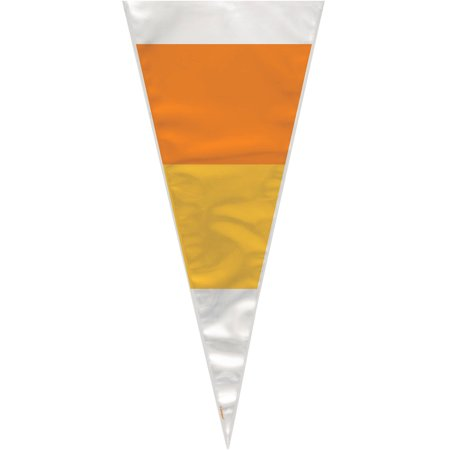 Candy Corn Halloween Cone Cellophane Bags, 20pk
