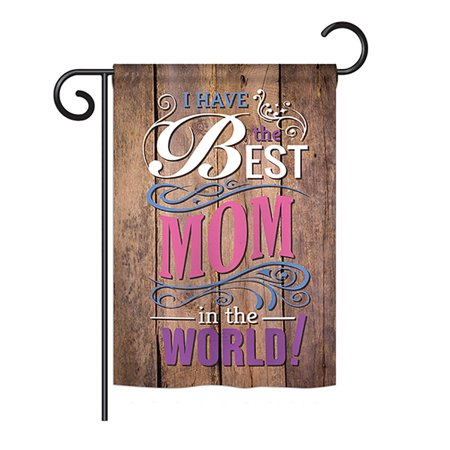 Ornament Collection - Best Mom in the World Summer - Seasonal Mother's Day Impressions Decorative Vertical Garden Flag 13