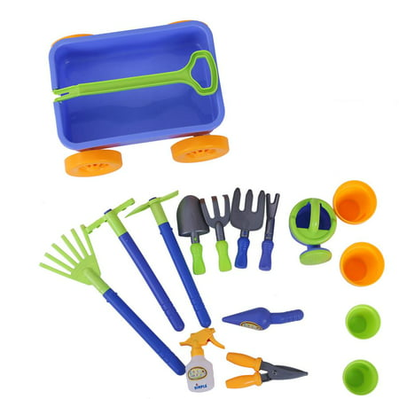 Yard Toys For Kids (Garden Wagon & Tools Toy Set by Dimple: Premium 15-Piece Gardening Tools & Wagon Toy Set – Sturdy & Durable - Top Yard, Beach, Sand, Garden Toy - Great Christmas)