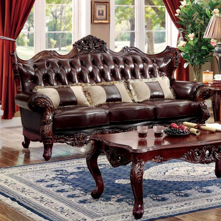 Furniture of America Luxenburg Traditional Dark Oak Tufted Sofa by FOA