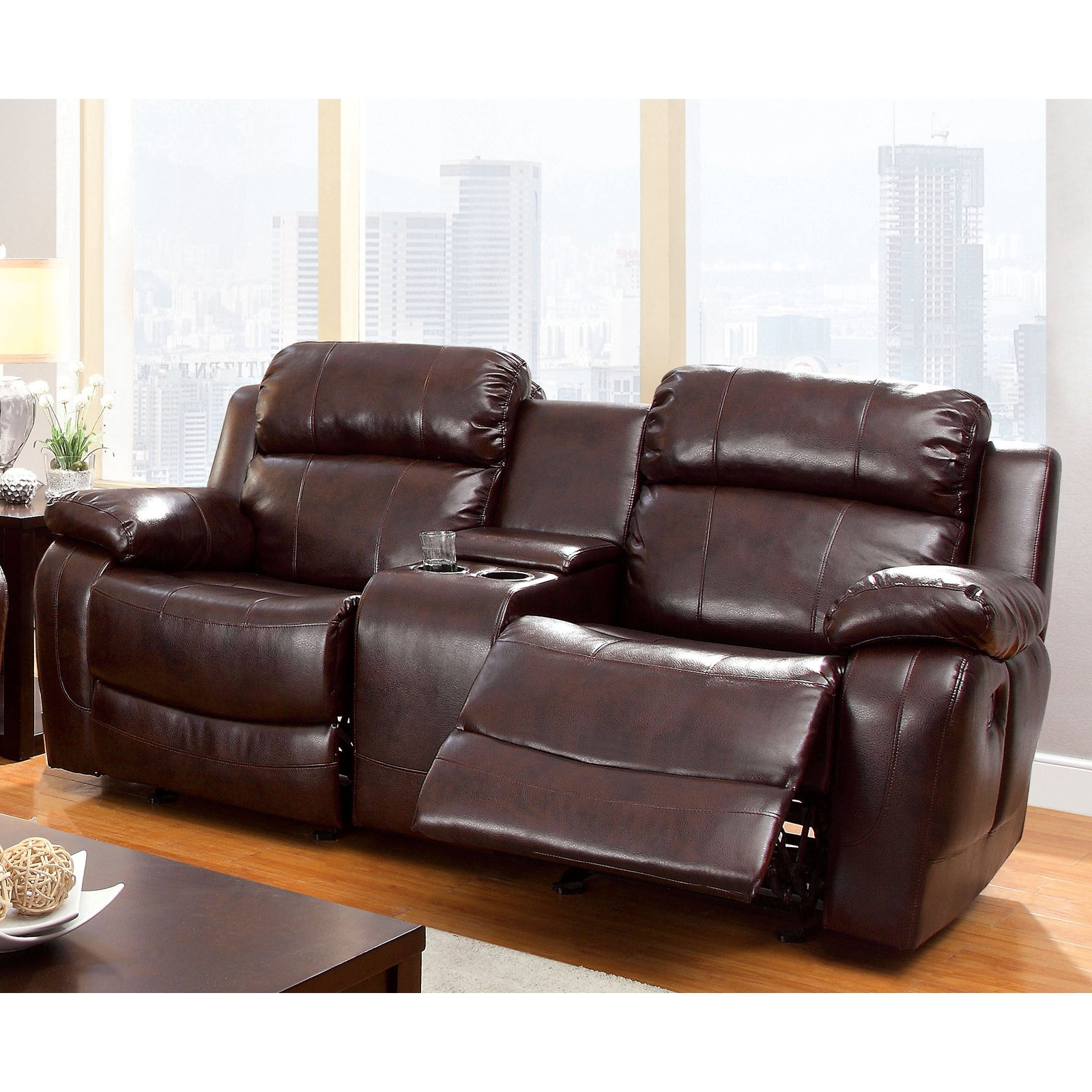 Furniture of America Hartwig Recliner Loveseat with Center Console