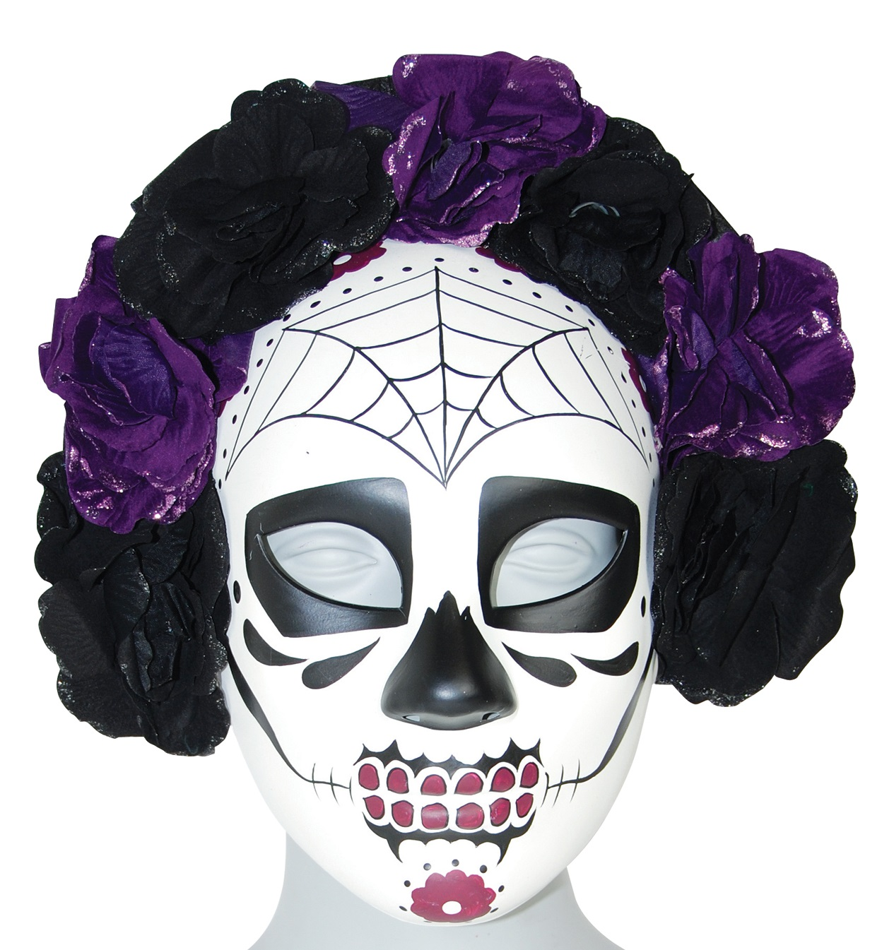 Day Of The Dead Sugar Skull  Eye Mask Purple Roses Dia De Los Muertos Costume