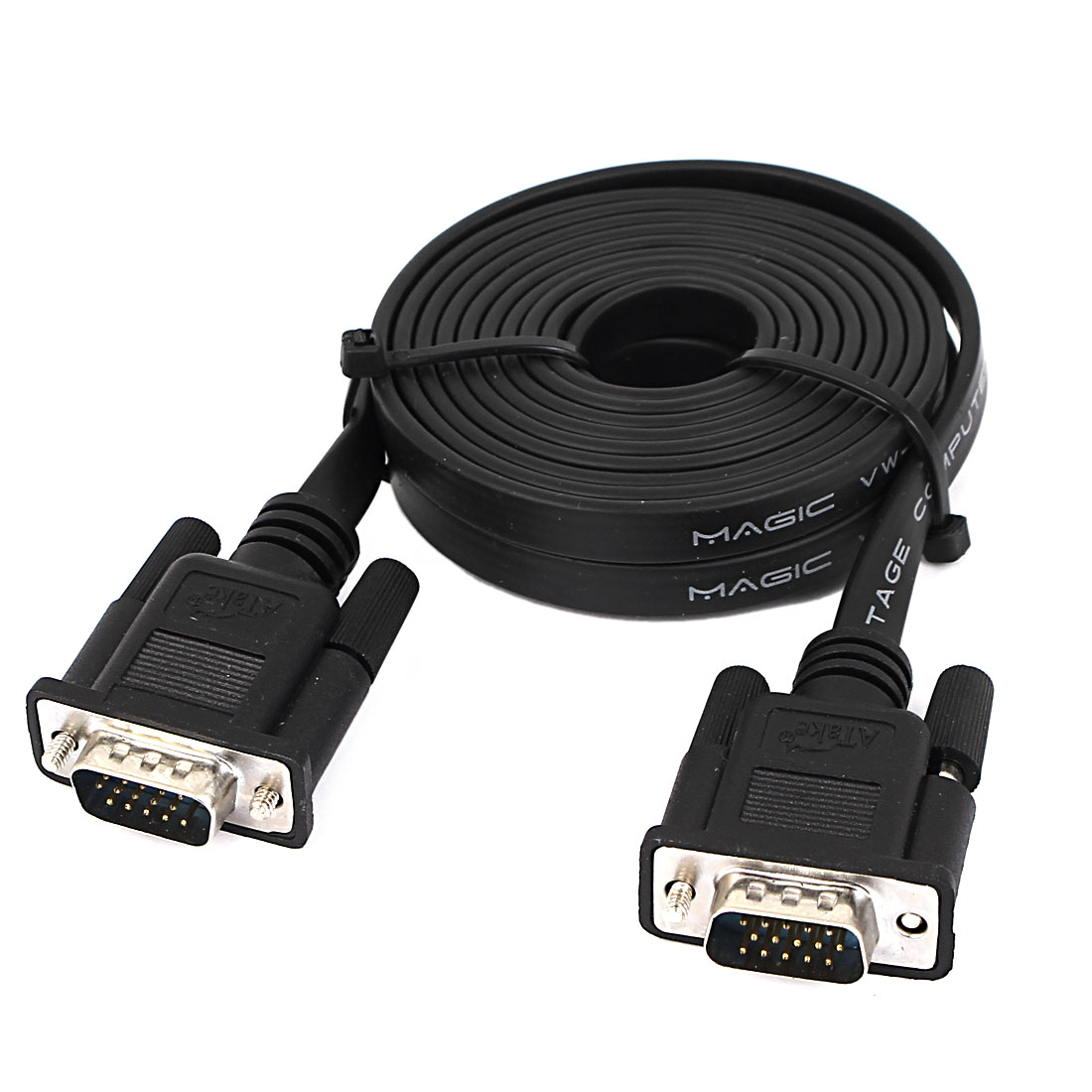 10Ft VGA 15 Pin Male to Male Flat Cable Adapter Monitor Extension Cord Black