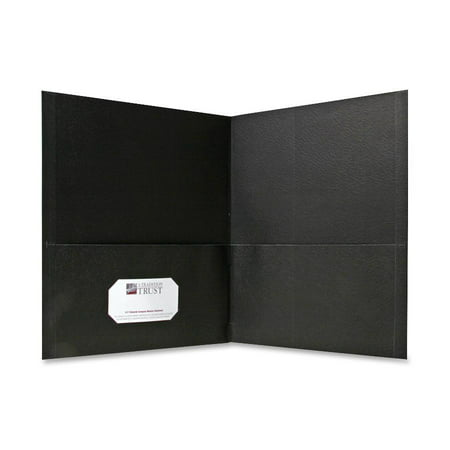 Sparco Products Leather - Sparco, SPR71435, Simulated Leather Double Pocket Folders, 25 / Box, Black