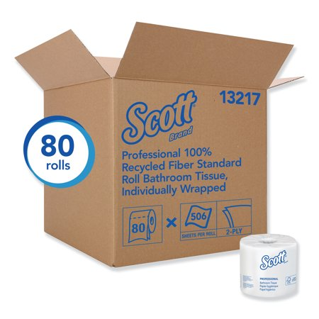 Scott Essential Professional 100% Recycled Fiber Bulk Toilet Paper for Business (13217), 2-PLY Standard Rolls, White, 80 Rolls per Case, 506 Sheets per Roll