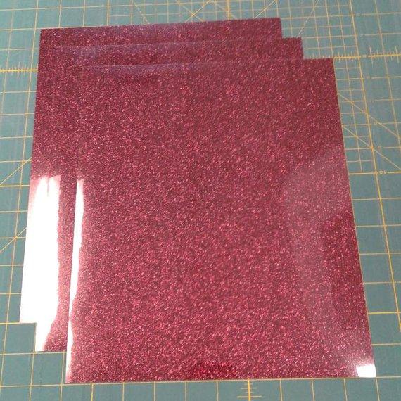 "Burgundy Siser Glitter Three (3) 10""x12"" Sheets of Iron-on Heat Transfer Vinyl Sheets"