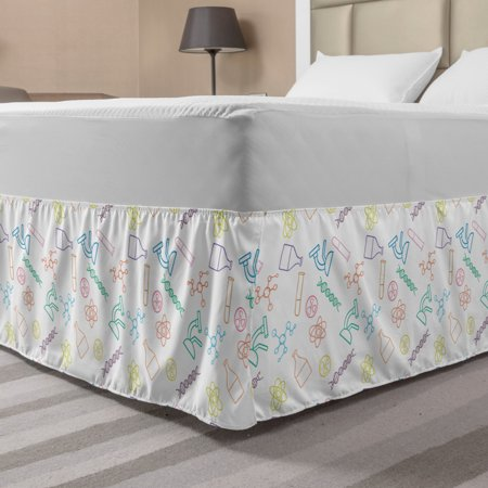Science Bed Skirt, Chemistry Concept Pattern with Chemical Instruments University School Education, Elastic Bedskirt Dust Ruffle Wrap Around for Bedding Decor, 4 Sizes, Multicolor, by Ambesonne