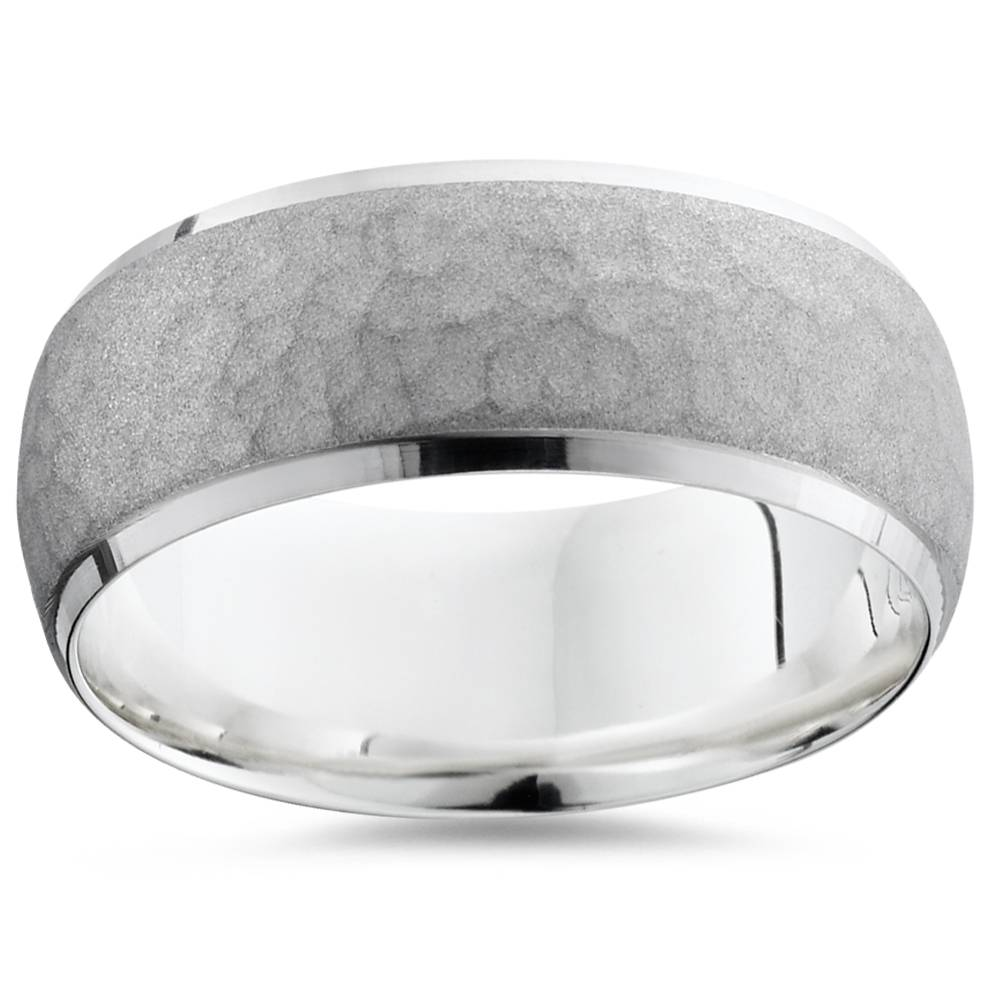 Mens Hammered 7MM 14 White Gold Wedding Band Ring - image 2 of 2