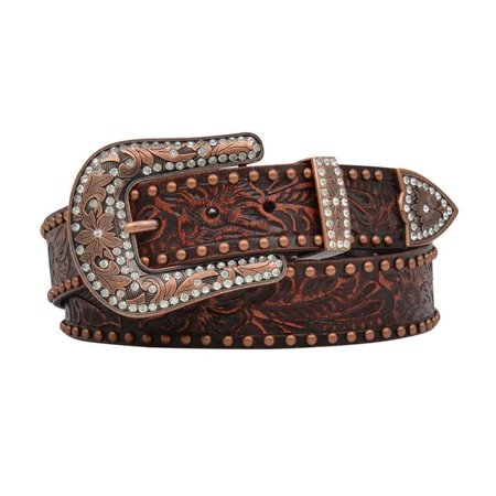 Angel Ranch DA1034-M 1.50 in. Womens Belt Leather Floral Lace Embroidery, Dark Brown - Medium - image 1 of 1