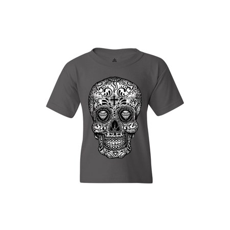 Shop4Ever Youth Black and White Skull Day of the Dead Graphic Youth