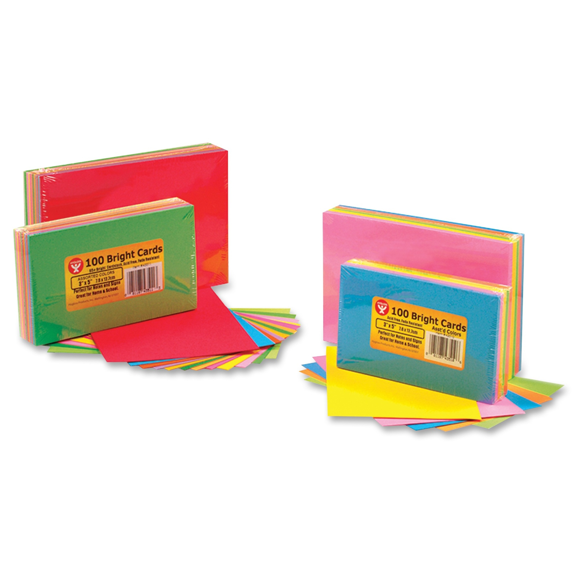 "Hygloss Bright Color Blank Note Cards - 72 Sheets - Plain - 3"" X 5"" - Assorted Paper - 1pack (hyx-43510)"