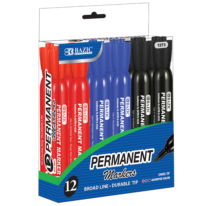 (Price/Case of 12)Bazic Products 1273-12 Assorted Color Chisel Tip Desk Style Permanent Markers (12/Box)