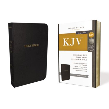KJV, Reference Bible, Personal Size Giant Print, Bonded Leather, Black, Red Letter Edition