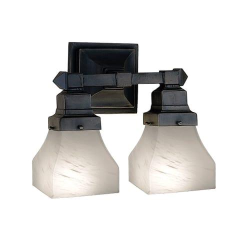 "Meyda Tiffany 27622 Bungalow White Alabaster 2 Light 13"" Wide Bathroom Vanity Light with White Glass Shade by Meyda Tiffany"