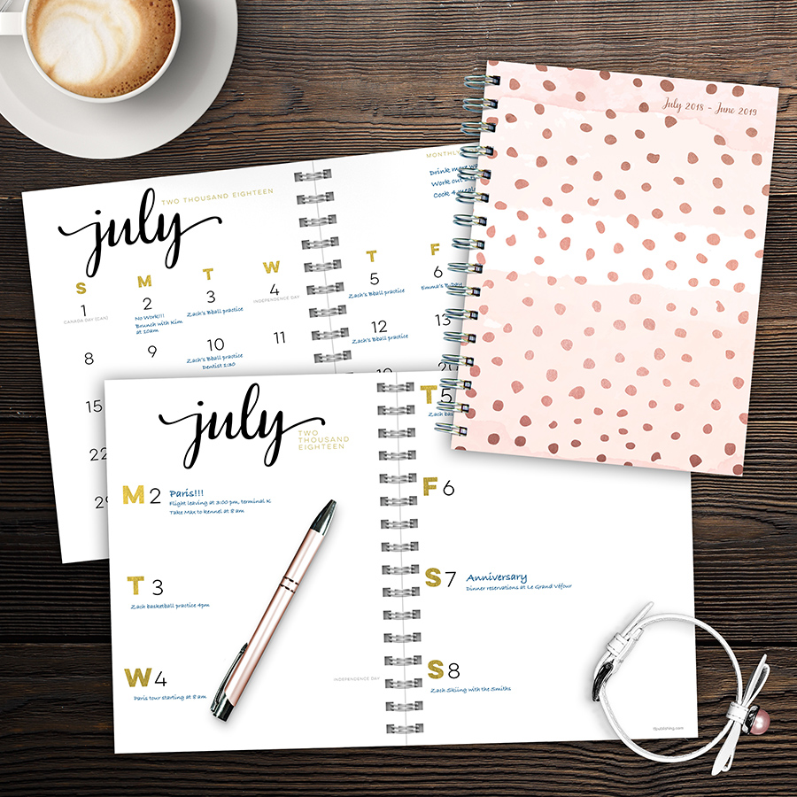 """2019 Rose Gold Dots July 2018 - June 2019 Academic Year 8""""x6.5"""" Medium Weekly Monthly Planner"""