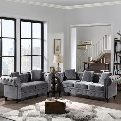 2 Pieces Tufted Velvet Upholstered Loveseat 3 Seat Sofa Roll Arm Nbsp Classic Chesterfield Sofa Set 5 Pillows Included Walmart Com Walmart Com