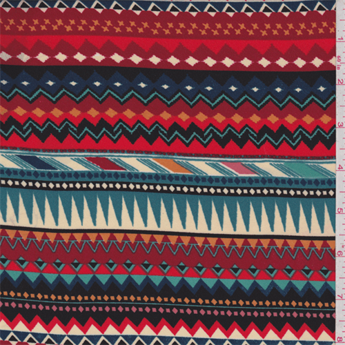 Red Multi Chevron Georgette, Fabric By the Yard
