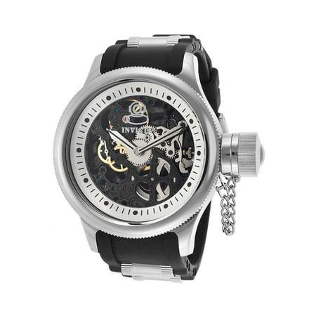 Russion Diver Black Skeleton Dial Black Polyurethane Mens Watch 17263