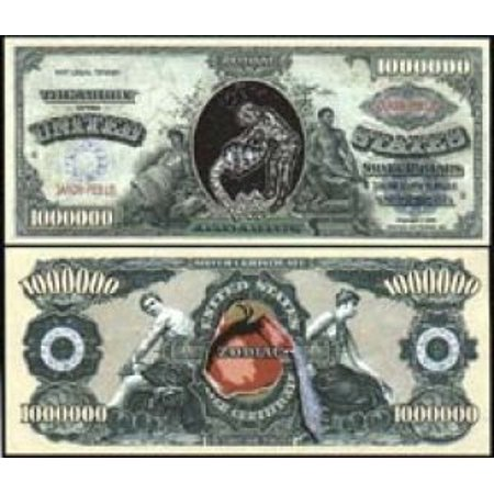 Set of 5 - Aquarius Zodiac Million Dollar Bill, This Special Edition Collectible Dollar Bill CERTIFICATE SERVES TO RECOGNIZE AQUARIUS! By American Art Classics