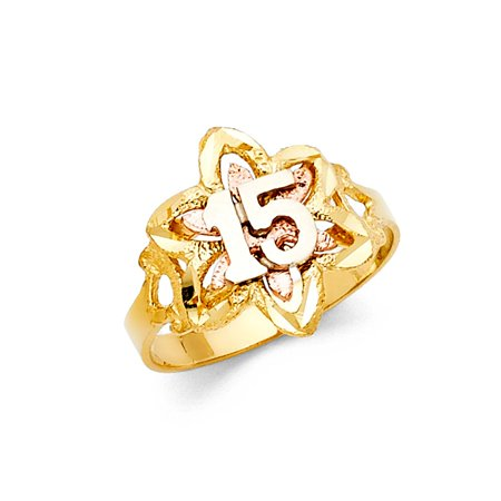 - 14k Two Tone Italian Gold 15mm Satin Floral Flower Quinceanera 15 Anos Birthday Ring Size 9.5 Available All Sizes