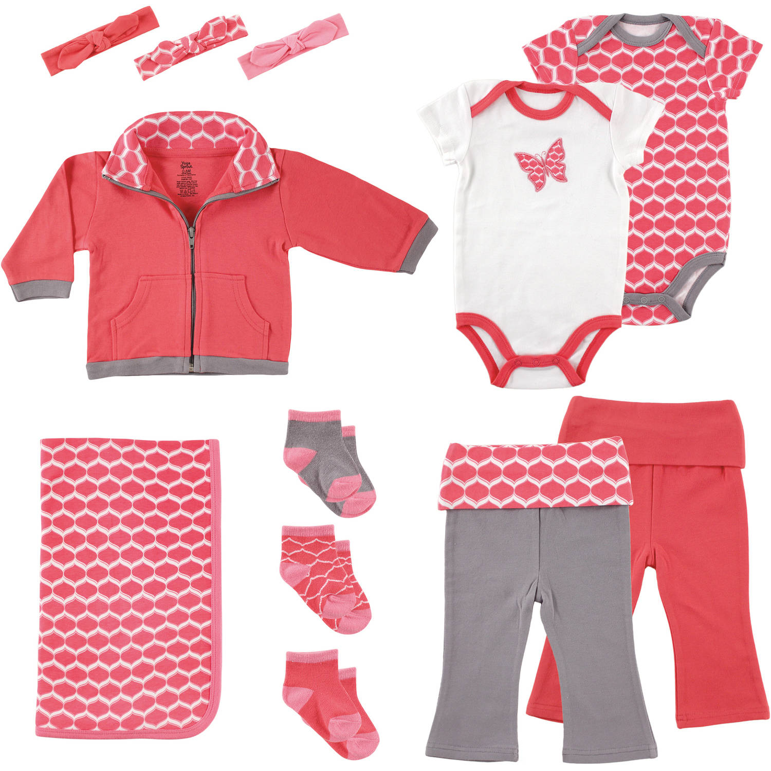 Yoga Sprout Newborn Baby Girl Layette 12-Piece Giftset, Butterfly