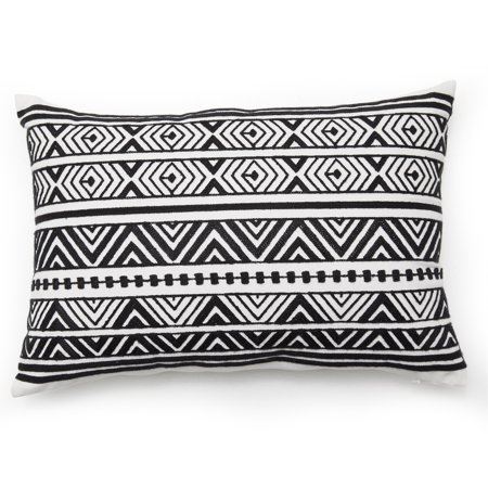 MoDRN Industrial Black and White Zig Zag Oblong Decorative Throw Pillow, 14