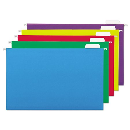 Universal Hanging File Folders, 1/5 Tab, 11 Point, Legal, Assorted Colors, 25/Box -UNV14221