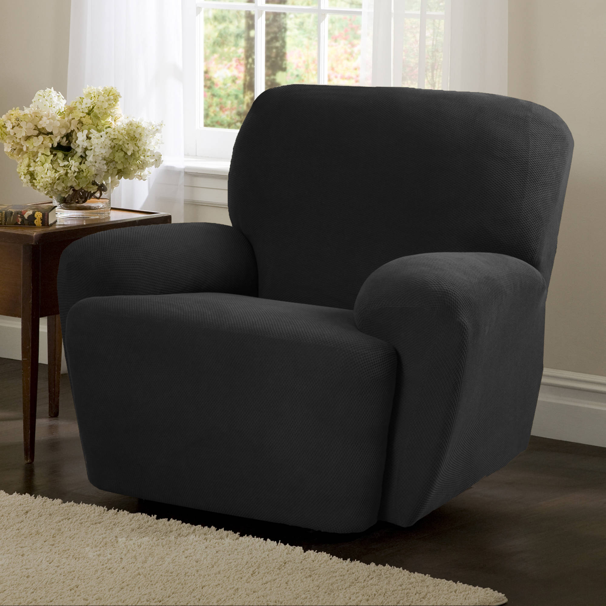 Maytex Pixel Stretch 4 Piece Recliner Chair Furniture Cover Slipcover
