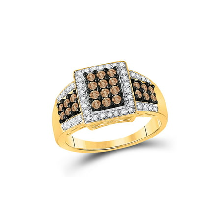 FB Jewels 10kt Yellow Gold Womens Round Brown Diamond Square Cluster Ring 5/8 Cttw