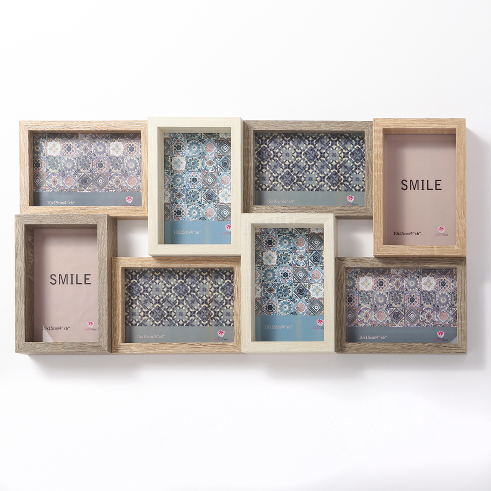 22 Inch Wood Puzzle Collage Frame 8 Openings by FASHIONCRAFT