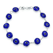 Turkish Multi Navy Blue Evil Eye Glass Bead Bracelet for Women for Protection And Good Luck 925 Sterling Silver