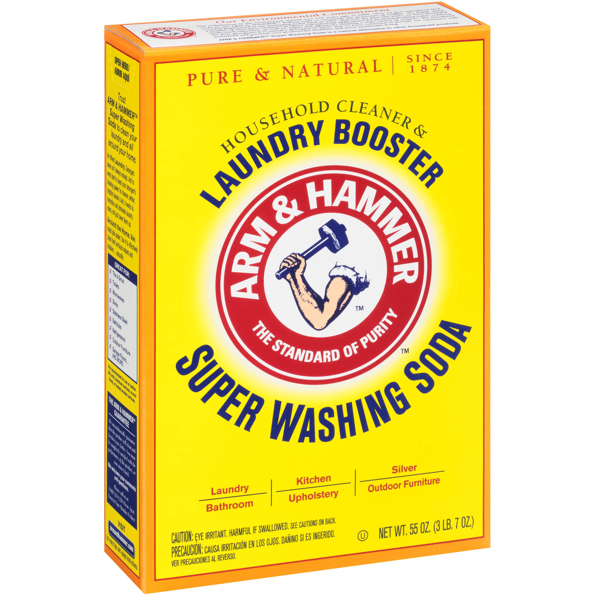 Arm & Hammer Super Washing Soda Detergent Booster & Household Cleaner, 55 oz