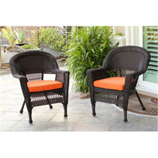 Jeco W00205-4-C-FS016-CS Honey Wicker Chair with Orange Cushion- Set of 4