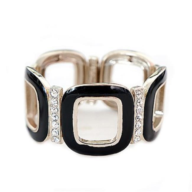 C Jewelry Black Square Enamel With Rhinestone Gold Stretch Bracelet