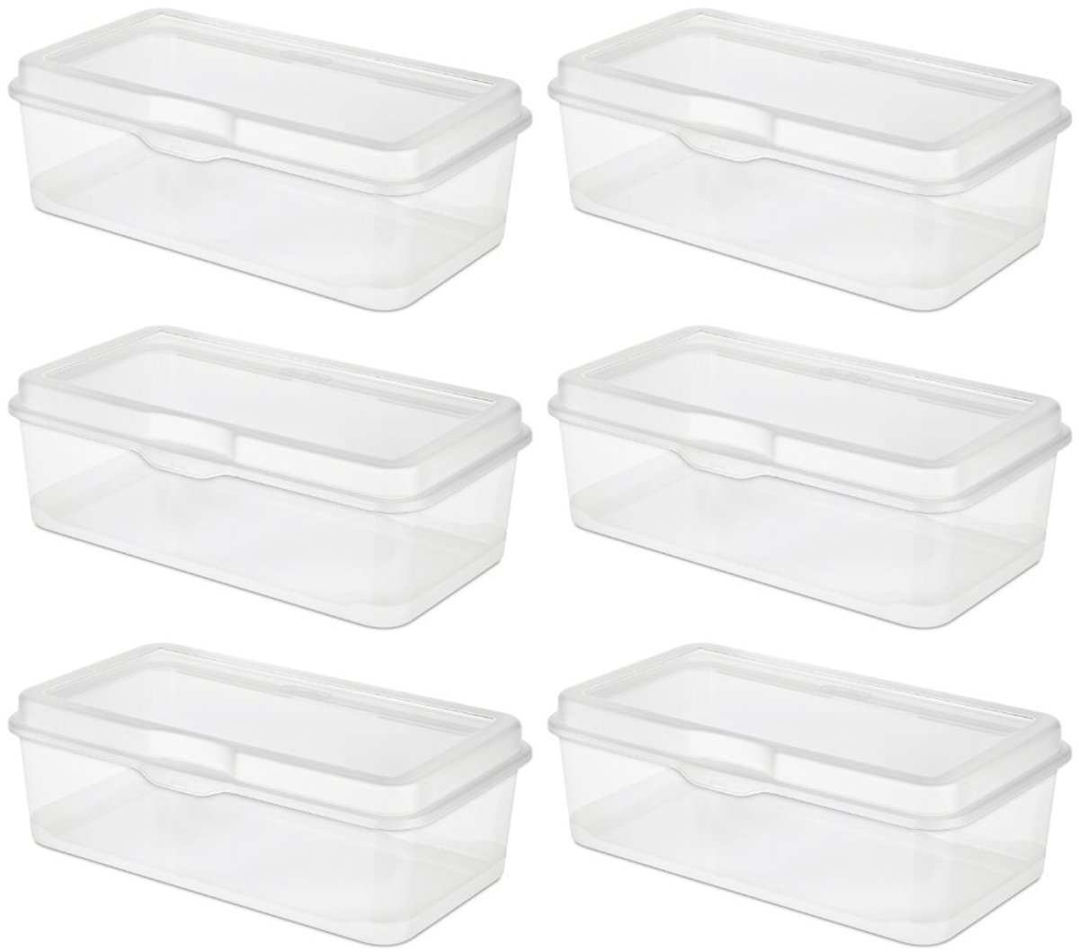 6 pack sterilite plastic fliptop latching storage box container clear