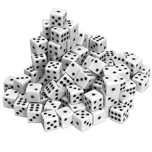 White Opaque Dice, 100-Pack