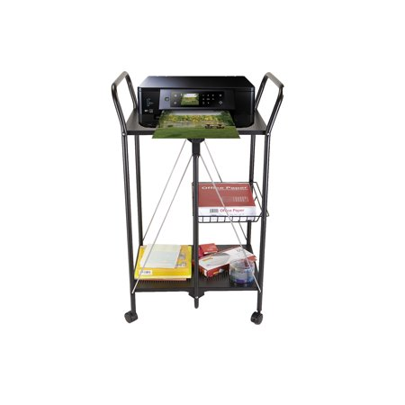 Purpose Utility Cart - Mind Reader 2 Tier Metal Fold-able All Purpose Utility Cart with Mesh Basket, Black