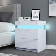 Tall 2-Drawer Nightstand with RGB LED Light; High Gloss Bedside Tables - White / Black