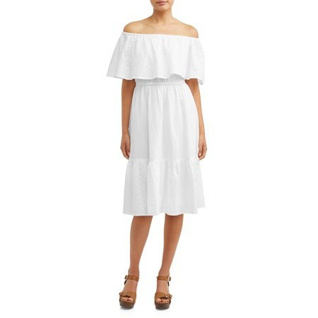 Eyelet Embroidered Off-the-Shoulder Midi Dress (Embroidered Eyelet Gown)