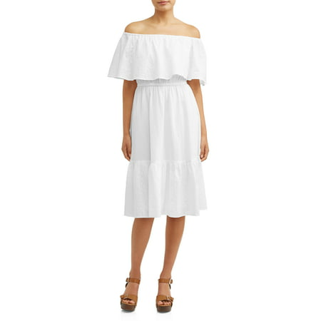 Eyelet Empire Dress (Eyelet Embroidered Off-the-Shoulder Midi Dress Women's )