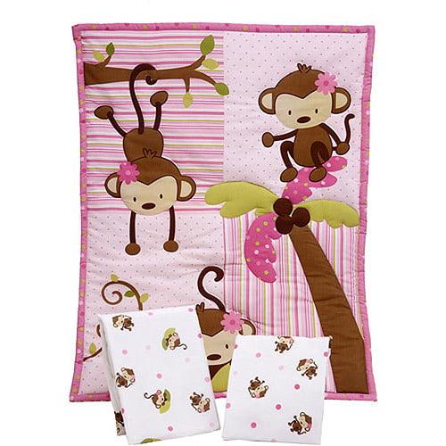 Little Bedding by NoJo - 3 Little Monkeys 3pc Portable Crib Bedding Set - Value Bundle