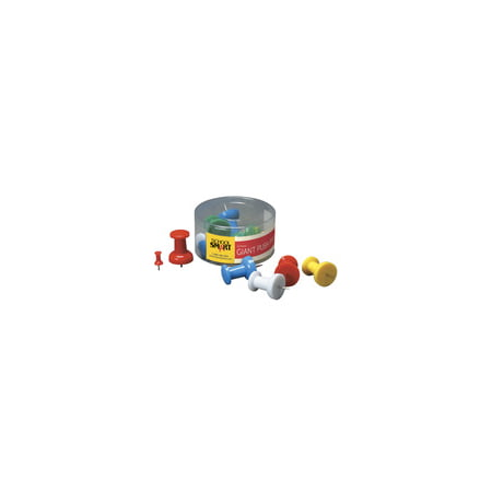 School Smart Giant Push Pins with Storage Tub, Assorted Colors, Pack of 12