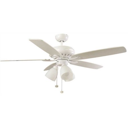 Hampton Bay 3572986 Rockport 52 In. Led Matte White With White/Elm Blades Ceiling Fan With Light Kit
