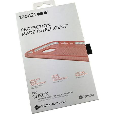 Moto Z Droid Case, Tech21 ROSE PINK EVO CHECK ANTI-SHOCK CASE TPU COVER FOR VERIZON MOTOROLA MOTO Z (Moto Check)