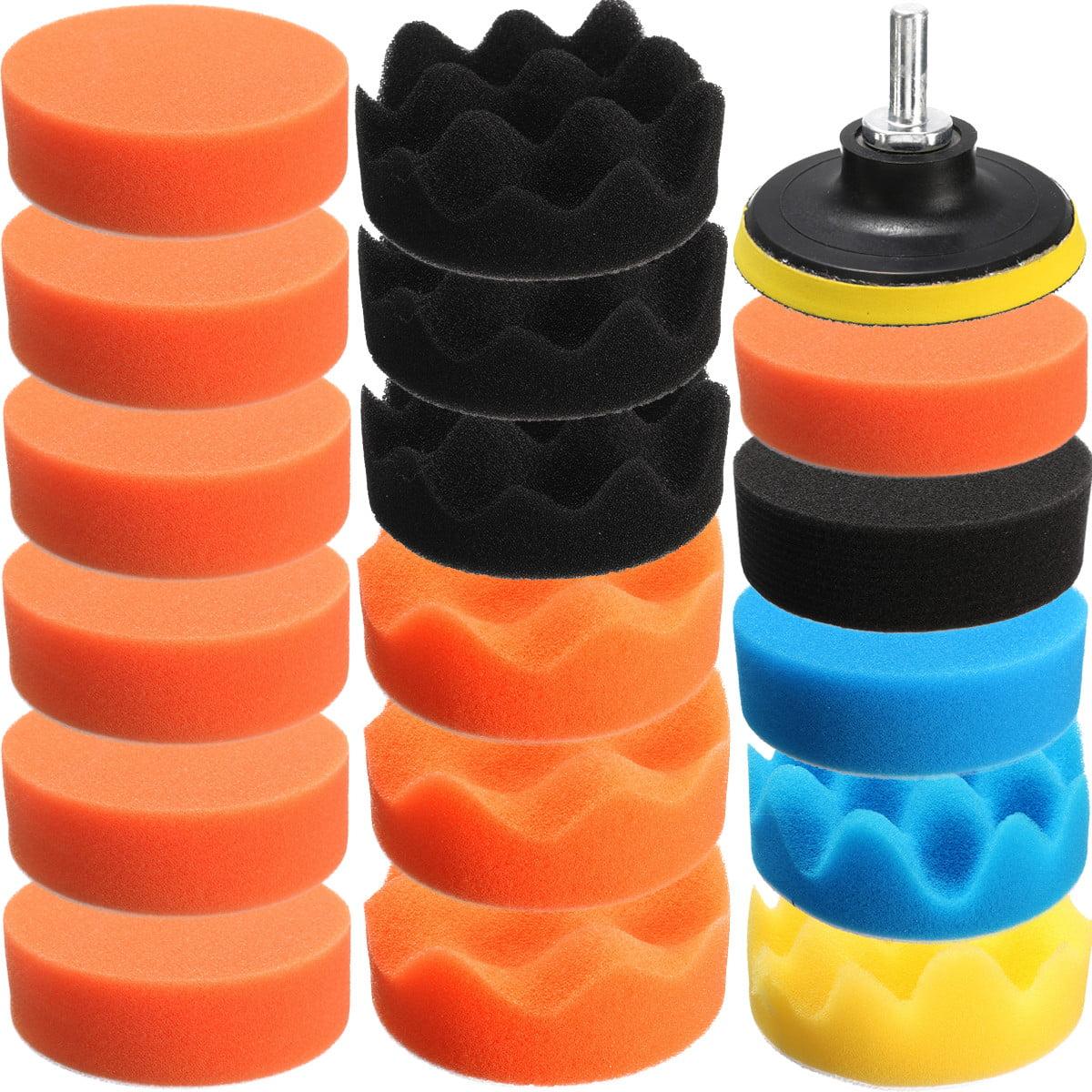 "19PCS 3""(80mm) Flat Sponge Buff Buffing Pad Polishing Pad Kit Set Compound Drill Adapter For Car Polisher"