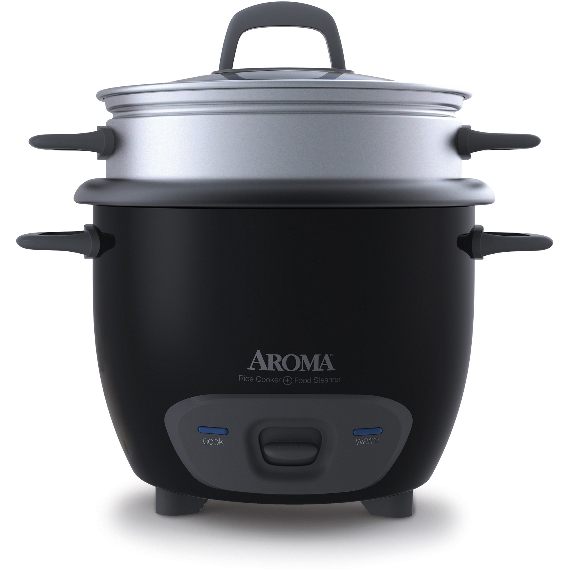 Aroma 6-Cup Pot-Style Rice Cooker and Food Steamer, Black